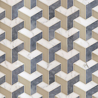 Francois Grand, a waterjet stone and Serenity glass mosaic, shown in matte Raw Fiber, honed Allure and honed Calacatta Tia, is part of the Illusions™ Collection by Sara Baldwin Designs for New Ravenna.