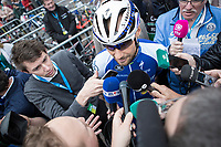 Tom Boonen (BEL/Quick Step Floors) attrackting a lot of press attention. He rides his last race on Belgian soil with the start in his hometown of Mol.<br /> <br /> 105th Scheldeprijs 2017 (1.HC)<br /> 1day race: Mol &gt; Schoten 200km