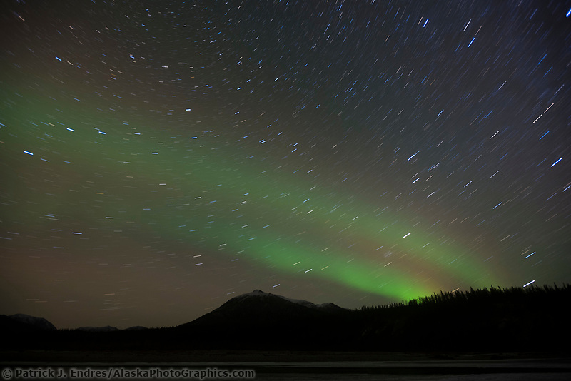 Aurora borealis and the milky way galaxy, Wiseman, Alaska.