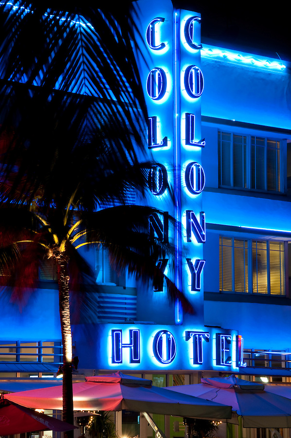 February 2009, Miami Beach. Florida. View of Hotel Colony. The Colony Hotel is one of the most recognized buildings in the art deco district in Miami Beach Florida. The hotel has recently renovated.