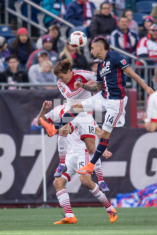Foxborough, Massachusetts - March 12, 2016:  The New England Revolution (blue and white) tied with  DC United (white and red) 0-0 in a Major League Soccer (MLS) match at Gillette Stadium.