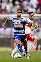 Matt Hedges (24) of FC Dallas. The New York Red Bulls defeated FC Dallas 1-0 during a Major League Soccer (MLS) match at Red Bull Arena in Harrison, NJ, on September 22, 2013.