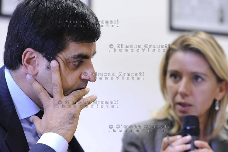 Roma Ottobre 2009.Luca Palamara presidente dell'Associazione nazionale magistrati e Concita de Gregorio nella sede del quotidiano L'Unità.