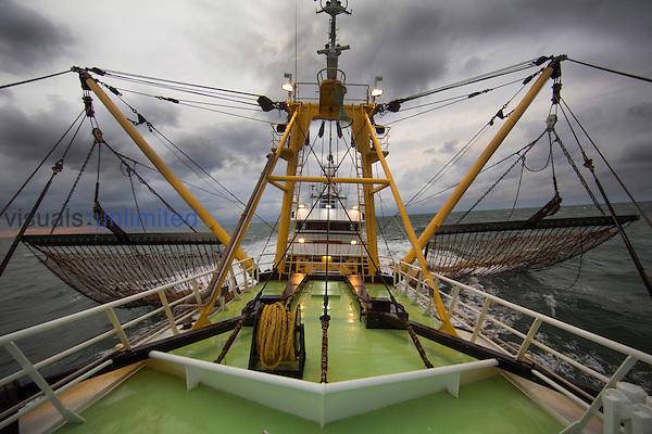 Dutch fishing vessel fishing on the North Sea