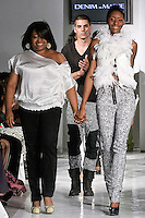 Fashion designer Marie Morile, walks runway with a model, at the close of the Denim by Marie Morile Spring Summer 2012 fashion show, during BK Fashion Weekend Spring Summer 2012.