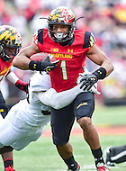 College Park, MD - OCT 1, 2016: Maryland Terrapins wide receiver D.J. Moore (1) runs for a first down during the second quarter of the game between Maryland and Purdue at Capital One Field at Maryland Stadium in College Park, MD. The Terps got the win 50-7 over visiting Purdue. (Photo by Phil Peters/Media Images International)
