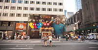 The Uniqlo store on Fifth Avenue in New York is decorated with a mural feating top seed tennis player Novak Djokovic, seen on Monday, August 29, 2016. The U.S. Open starts today in Queens and Uniqlo sponsors Djokovic. (© Richard B. Levine)