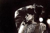 Miles Davis, jazz musician, playing at Coliseu do Porto, in 1991.