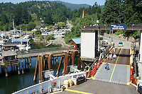 People boarding the ferry in Snug Cove, Bowen Island, British Columbia, Canada