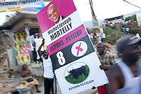Supporters of Haitian presidential candidate Michel Martelly protest in the Delmas neighborhood on November 28, 2010 in Port-au-Prince, Haiti.