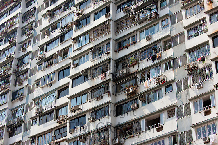 Tenement block in Mumbai, formerly Bombay, Maharashtra, India