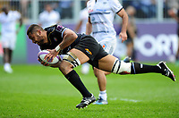 Taulupe Faletau of Bath Rugby dives for the try-line. European Rugby Challenge Cup Quarter Final, between Bath Rugby and CA Brive on April 1, 2017 at the Recreation Ground in Bath, England. Photo by: Patrick Khachfe / Onside Images