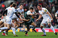 Jono Kitto of Leicester Tigers takes on the Exeter Chiefs defence. Aviva Premiership match, between Leicester Tigers and Exeter Chiefs on March 6, 2016 at Welford Road in Leicester, England. Photo by: Patrick Khachfe / JMP