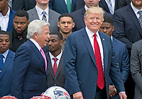 United States President Donald J. Trump arrives to welcome the Super Bowl Champion New England Patriots to the South Lawn of White House in Washington, DC on Wednesday, April 19, 2917.  New England Patriots owner Robert Kraft is a left.<br /> Credit: Ron Sachs / CNP/MediaPunch<br /> <br /> (RESTRICTION: NO New York or New Jersey Newspapers or newspapers within a 75 mile radius of New York City)