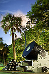 Charleston Battery White Point Gardens Cannon and cannon balls South Carolina at night