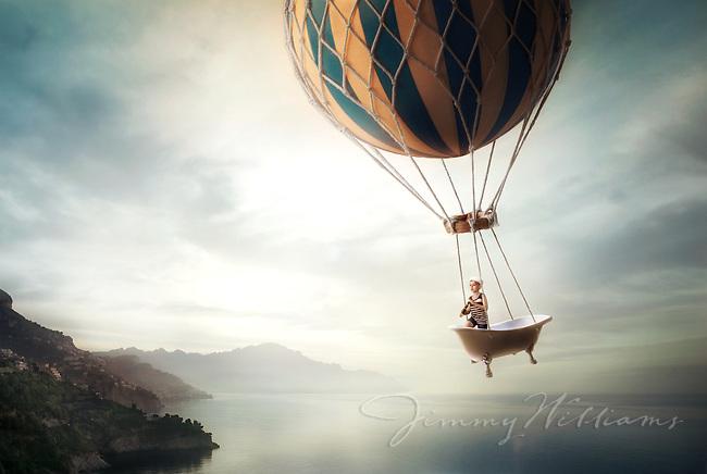 A boy flying a bathtub on an adventure.