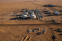 November 23, 2014 - Ubari region, Libya: Al-Sharara oilfield installations are seen powered off from a helicopter in Southwest of Libya. Fighting around Southwest Ubari region ignited after Tuareg militias from Mali and Libya sized control over the vast oilfield installations aligned with the Third Force of Misrata armed forces. Since then raged battles have taken place between two factions: one faction of Tuareg fighters lead by Third Force from Misrata pushing to clean the region from the other faction of Tebu tribal fighters defending their controlled territory. (Photo/Narciso Contreras)
