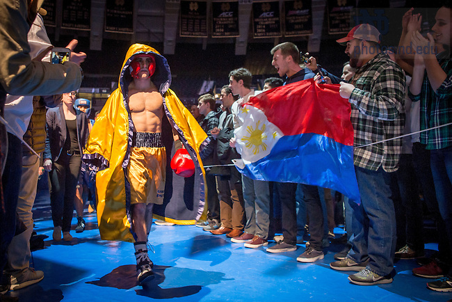 """March 3, 2017; Michael """"Munchkin"""" Kappaz enters the Purcell Pavilion ahead of Joaquin """"Masagana"""" Camara for their 142lb. division bout. (Photo by Matt Cashore/University of Notre Dame)"""