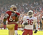San Francisco 49ers wide receiver Terrell Owens (81) makes touchdown in first quarter on Sunday, October 27, 2002, in San Francisco, California. The 49ers defeated the Cardinals 38-28.
