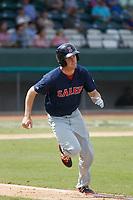Salem Red Sox outfielder Derek Miller (26) at bat during a game against the Down East Wood Ducks  at Grainger Stadium on April 16, 2017 in Kinston, North Carolina. Salem defeated Down East 9-2. (Robert Gurganus/Four Seam Images)