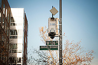 "An honorific street sign is placed on West 126 St and Adam Clayton Powell Jr. Blvd. in Harlem in New York, seen on Sunday, November 23, 2014. ""James Brown Way"" runs behind the legendary Apollo Theater.  Brown passed away in Atlanta, GA at the age of 73 on December 25, 2006 from heart failure following a bout with pneumonia. (© Richard B. Levine)"
