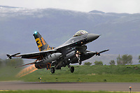 A Belgian F-16 takes off. Nato Tiger Meet is an annual gathering of squadrons using the tiger as their mascot. While originally mostly a social event it is now a full military exercise. Tiger Meet 2012 was held at the Norwegian air base Ørlandet.