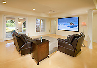 Simple Family Room with Mounted TV