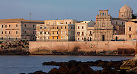 General view of Lungomare d'Ortigia and Santo Spirito Church, Syracuse, Sicily,  pictured on September 14, 2009, at dawn. The island Ortigia is the historic centre of Syracuse. Today the city is a UNESCO World Heritage Site. Picture by Manuel Cohen.