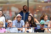FLUSHING NY- SEPTEMBER 05: Michael Strahan is seen watching Venus Williams Vs Pliskova on Arthur Ashe Stadium at the USTA Billie Jean King National Tennis Center on September 5, 2016 in Flushing Queens. Credit: mpi04/MediaPunch