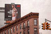 A billboard of soccer star David Beckham in his skivvies promoting his line of underwear at H&M is seen on a billboard in New York on Thursday, February 7, 2013.  H&M is carrying the soccer athlete's underwear collection. The store has also featured mass-market fashion by designers Versace, Karl Lagerfeld, Stella McCartney among others.  (© Richard B. Levine)