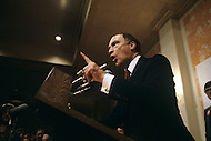Ottawa, Canada, February 1980. Joseph Philippe Pierre Yves Elliott Trudeau, (October 18, 1919 - September 28, 2000), was the 15th Prime Minister of Canada from April 20, 1968 to June 4, 1979, and again from March 3, 1980 to June 30, 1984 campaigning ahead of the legislative elctions on May 22 1980.