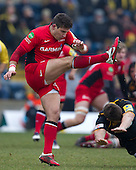 Nils Mordt of Saracens RFC kicks to safety - London Wasps RFC vs Saracens RFC - Aviva Premiership Rugby at Adams Park, Wycombe Wanderers FC - 12/02/12 - MANDATORY CREDIT: Ray Lawrence/TGSPHOTO - Self billing applies where appropriate - 0845 094 6026 - contact@tgsphoto.co.uk - NO UNPAID USE.