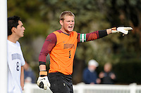 Monmouth Hawks goalkeeper Bryan Meredith (1). Dartmouth defeated Monmouth 4-0 during the first round of the 2010 NCAA Division 1 Men's Soccer Championship on the Great Lawn of Monmouth University in West Long Branch, NJ, on November 18, 2010.