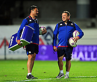 Bath Rugby Head Coach Tabai Matson and first team coach Toby Booth have a word during the pre-match warm-up. European Rugby Challenge Cup match, between Pau (Section Paloise) and Bath Rugby on October 15, 2016 at the Stade du Hameau in Pau, France. Photo by: Patrick Khachfe / Onside Images