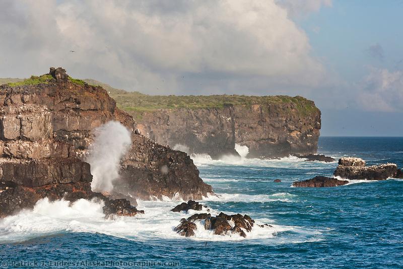 Waves crash along the southern cliffs of Punto Suarez, Espanola Island, Galapagos Islands, Ecuador.