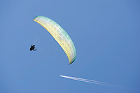 Paraglider over Voss.The Extremesport Week, Ekstremsportveko, is the worlds largest gathering of adrenalin junkies. In the small town of Voss enthusiasts in a varitety of extreme sports come togheter every summer to compete and play. Norway..©Fredrik Naumann/Felix Features.