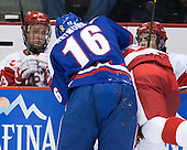 Matt Lane (BU - 23), Riley Wetmore (UML - 16), ?, Jake Moscatel (BU - 14) - The visiting University of Massachusetts Lowell River Hawks defeated the Boston University Terriers 3-0 on Friday, February 22, 2013, at Agganis Arena in Boston, Massachusetts.