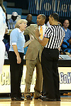 24 November 2012: Referee Billy Smith talks with UNC head coach Sylvia Hatchell (left) and head coach Jeff Williams (right). The University of North Carolina Tar Heels played the La Salle University Explorers at Carmichael Arena in Chapel Hill, North Carolina in an NCAA Division I Women's Basketball game. UNC won the game 85-55.