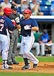 8 March 2009: Washington Nationals' catcher Javier Valentin crossed the plate after hitting a 2-run homer during a Spring Training game against the New York Mets at Space Coast Stadium in Viera, Florida. The Nationals defeated the Mets 8-3 in the Grapefruit League matchup. Mandatory Photo Credit: Ed Wolfstein Photo