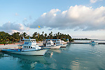 Bodufinolhu Island, Laamu Atoll, Maldives; fishing boats anchored in the harbor