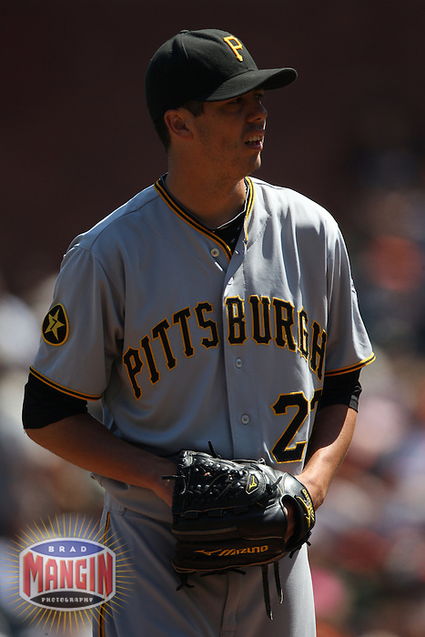 SAN FRANCISCO - AUGUST 10:  Jeff Karstens #27 of the Pittsburgh Pirates pitches against the San Francisco Giants during the game at AT&T Park on August 10, 2011 in San Francisco, California. Photo by Brad Mangin