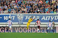 VOETBAL: HEERENVEEN: 28-09-2014, SC Heerenveen - PSV, uitslag 1-0, Daley Sinkgraven scoorde het winnende doelpunt, Scheidsrechter Kevin Blom geeft een rode kaart aan SC Heerenveen speler  Stefano Marzo (#6) en aan PSV speler Joshua Brenet  (#20), ©foto Martin de Jong