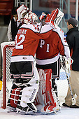 Bryce Merriam (RPI - 32), Allen York (RPI - 30) - The visiting Rensselaer Polytechnic Institute Engineers tied their host, the Northeastern University Huskies, 2-2 (OT) on Friday, October 15, 2010, at Matthews Arena in Boston, MA.