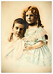 Brother and sister tinted portrait. 1930's