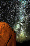 The Milky Way backs a unique petroglyph showing a human or spirit birth.