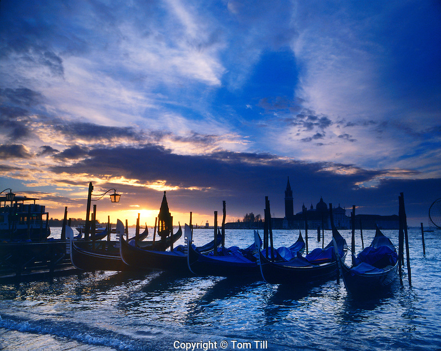 Boats at the Grand Canal at Sunrise, near Piazza De San Marco, Venice, Italy