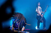 KORN - performing live with bassist Tye Trujillo, 12-year-old son of Metallica's Robert Trujillo on bass guitar - on the opening night of the South American leg of  The Serenity of Summer Tour at the Espaco Das Americas in Sao Paolo Brazil - 19 April 2017.  Photo credit: Marcos Hermes/Dalle/IconicPix