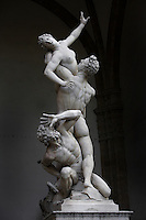 Low angle view of The Rape of the Sabine Women, 1583, marble, by Giambologna, born as Jean Boulogne, incorrectly known as Giovanni da Bologna and Giovanni Bologna (1529 - 13 August 1608), Loggia dei Lanzi, Piazza della Signoria, Florence, Italy, pictured on 9 June, 2007. Picture by Manuel Cohen