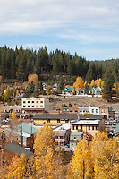 """Downtown Truckee in the Fall 2"" - This is a photograph of homes and buildings in Downtown Truckee, CA in the fall."