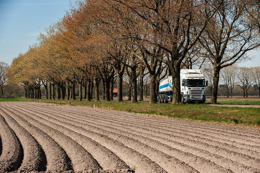 Nederland, omgev. Sint Anthonis, 20 april 2015<br /> Nette akker met ruggetjes voor aardappels. <br /> <br /> Foto: Michiel Wijnbergh